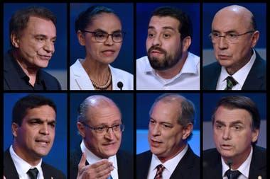 Alvaro Dias (Podemos), Marina Silva (Red), Guilherme Boulos (PSOL), Henrique Meirelles (MDB) y Cabo Daciolo (Patriota), Geraldo Alckmin (PSDB), Ciro Gomes (PDT) y Jair Bolsonaro (PSL), los candidatos, en el debate