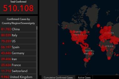 Los datos de los contagiados de coronavirus en el mundo se disparan y todavía no se llegó al pico de la pandemia