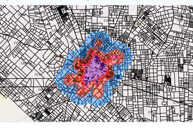 El color violeta destaca la zona urbana; el naranja, la restricción a las aplicaciones terrestres y el azul con aviones