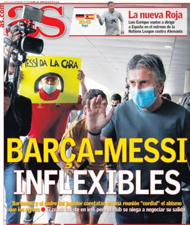 """""""Inflexibles"""": el matutino As reflejó la llegada de Jorge Messi a Barcelona para hablar con Bartomeu"""