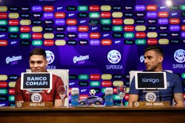 Una conferencia de Juanfer Quintero y Toto Salvio y la visualización de marcas por parte de Superliga