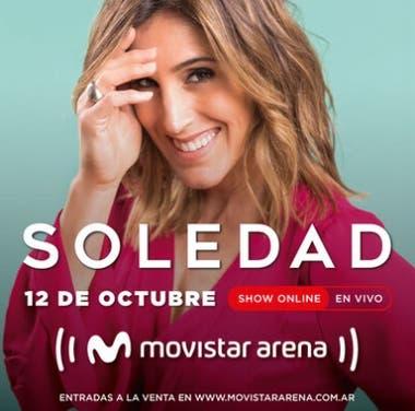 Desde el Movistar Arena, Soledad cantará el próximo 12 de octubre