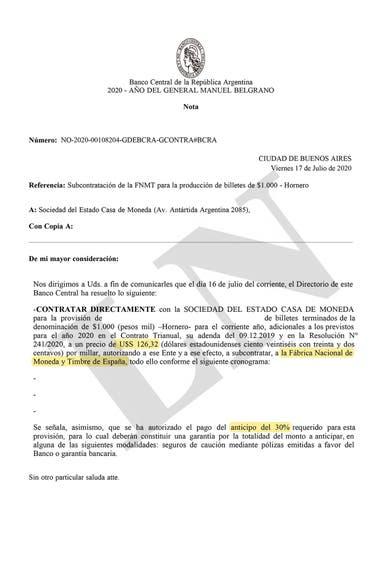 Frente al temor de que falten billetes para asistir a la demanda de fin de año, el Gobierno ordenó la compra de una partida de papeles de $1000 a la Casa de Moneda y Timbre de España.
