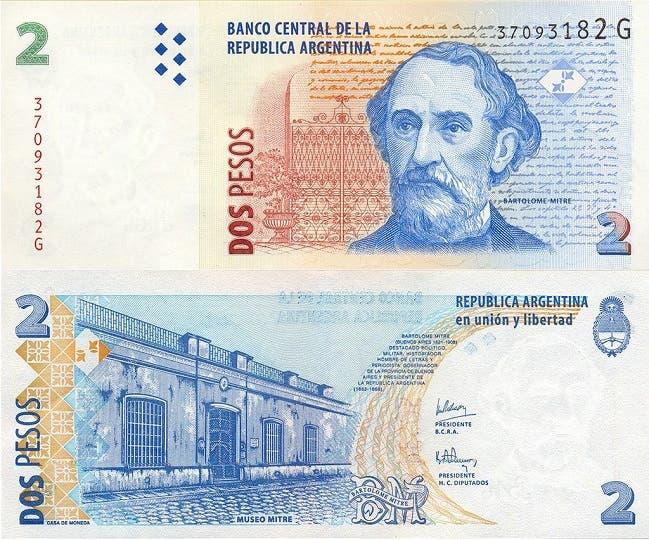 Los billetes de dos pesos podrán ser canjeados por monedas en cualquier sucursal bancaria del país hasta el próximo 27 de abril y, desde mayo, perderán validez en forma definitiva