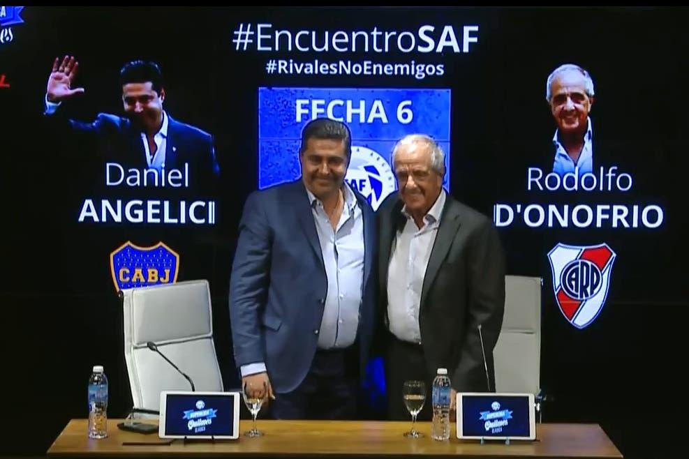 Angelici y D'Onofrio dieron una conferencia de cuatro minutos, sin chicanas y con el mensaje #RivalesNoEnemigos