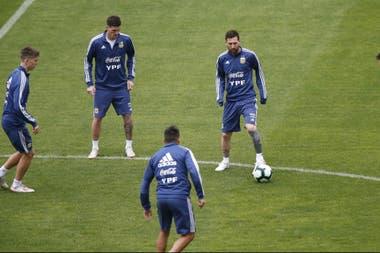 Messi, en un entrenamiento durante la Copa América. Su opinión fue una de los argumentos que explican la continuidad de Scaloni.