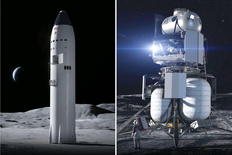 Cómo son las naves de Elon Musk y Jeff Bezos que la NASA eligió para volver a la Luna