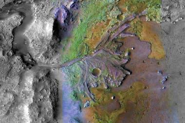 Esta foto tomada en diciembre de 2019 de la NASA muestra el cráter Jezero en Marte, el lugar de aterrizaje de la misión Marte 2020 de la NASA.
