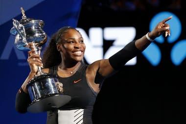 Serena Williams, cuando ganó el Abierto de Australia 2017; al tiempo se supo que llevaba un puñado de semanas embarazada de su hija Alexis.