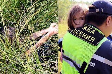 Así estaba Karina Chikitova cuando la encontraron, tras 12 días en el bosque: su perra creó un escondite para ella dentro de los matorrales para esconderla de los predadores