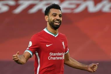 Salah, la gran figura del triunfo de Liverpool sobre Leeds, en una de sus celebraciones
