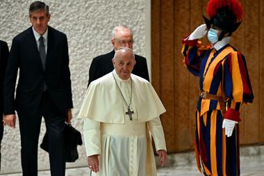 Francisco, hoy, en la audiencia general semanal en la sala Pablo VI del Vaticano