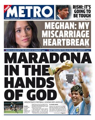 """""""Maradona en las manos de Dios"""", dice el diario Metro, haciendo un juego de palabras con el gol a los ingleses en México 1986."""
