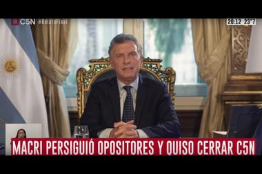 Placas del canal C5N durante la cadena nacional de Mauricio Macri