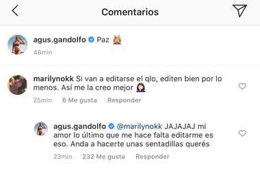El comentario que Agustina Gandolfo respondió indignada.