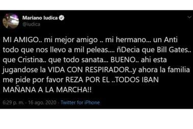 El tuit de Mariano Iúdica sobre el coronavirus que despertó revuelo en las redes sociales