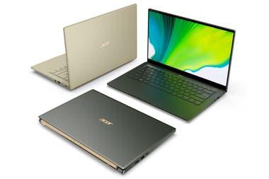Las Acer Swift 5 y Swift 3 tienen 1 kg de peso, una autonomía de hasta 17 horas gracias al chip Core de 11ma generación, pantalla de 13,5 o 14 pulgadas con vidrio antimicrobiano