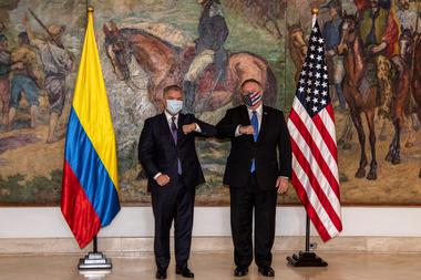 El presidente colombiano Iván Duque y el Secretario de Estado de Estados Unidos Mike Pompeo