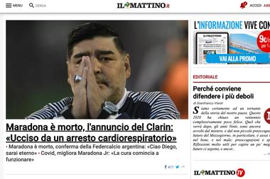 Il Mattino de Nápoles, donde Maradona es un ídolo absoluto