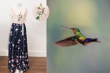 Bordado a mano de la polinización de colibríes y mariposas