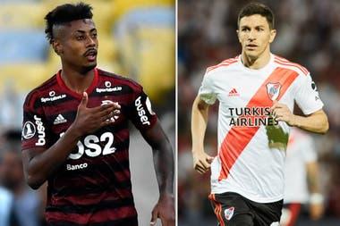 Bruno Henrique, de Flamengo, y Nacho Fernández, de River: protagonistas de la próxima final de la Copa Libertadores.
