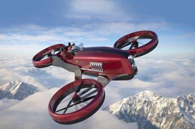 Un Ferrari FD One, un biplaza inspirado en los fórmula 1 de los años cincuenta capaz de volar a 500 km/h y con una autonomía de tres horas