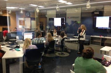 Una de las aulas del Belo Center, el centro de producción de medios en donde Calmon Alves coordina el Centro Knight para el Periodismo en las Americas