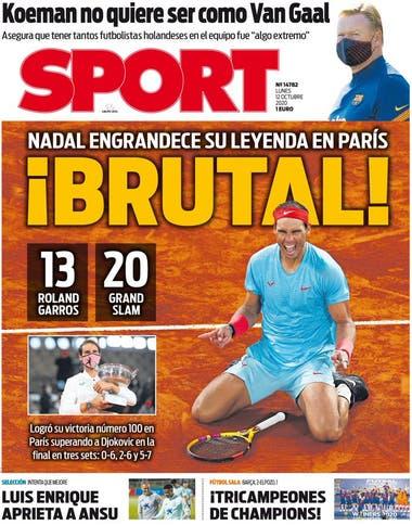 """""""Messi engrandece su leyenda en París"""", tituló el diario catalán Sport"""