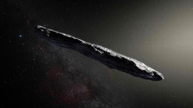 Una interpretación artística del asteroide Oumuamua, que se cree mide unos 400 metros de largo