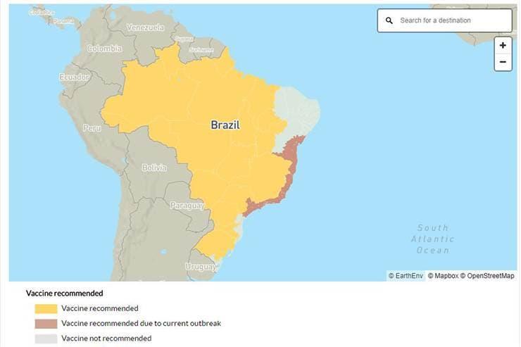 Las zonas de Brasil en donde es recomendable darse la vacuna antes de viajar