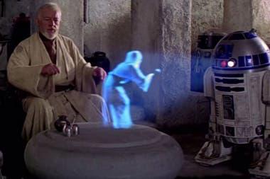 La transmisión tridimensional de la Star Wars original; la imagen de Leia puede verse desde cualquier posición; el desarrollo de la universidad de Sussex permite ir más allá y sentir en la piel el holograma