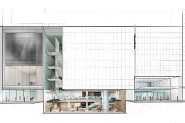 Detalle del plano del edificio ampliado del MoMA, diseñado por el estudio Diller Scofidio + Renfro, en el que se ve la escalera aportada por Tisi