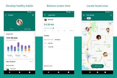 Algunas de las funciones de Family Safety definir horarios de uso de aplicaciones especficas ubicar dispositivos y tener un panorama de uso semanal