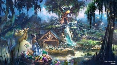 """Ilustración promocional publicada junto al anuncio de la remodelación de la """"Splash Mountain"""", en los parques de California y Florida (Disney)"""