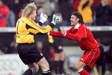 Festejo con Oliver Kahn en la Bundesliga