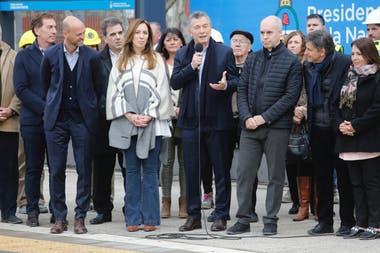 Macri Vidal y Larreta durante la inauguracin