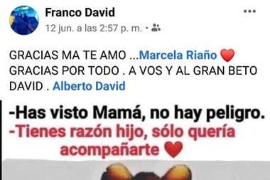 Último posteo de Franco David en Facebook
