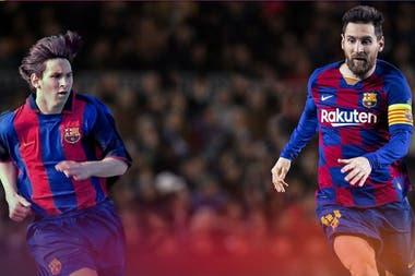 El Messi adolescente y el de hoy, siempre con la camiseta de Barcelona.