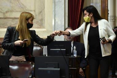 El saludo de Fernández Sagasti y Rodríguez Machado, antes del duro debate