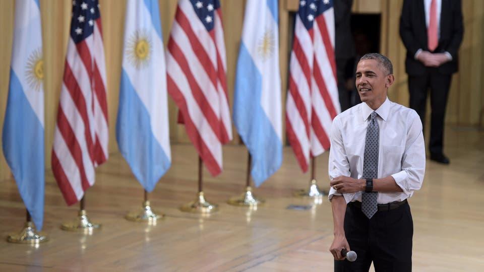 El presidente Barack Obama, en una disertación en la usina del arte. Foto: AFP / Juan Mabromata