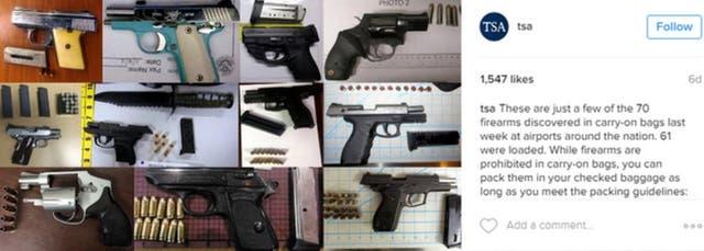 La TSA suele compartir en su cuenta de Instagram las pistolas y otras armas que confisca a pasajeros que tratan de embarcan en distintos vuelos