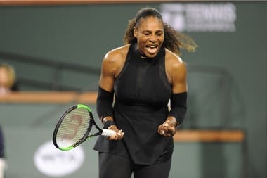 El festejo de Serena Williams luego del triunfo en Indian Wells