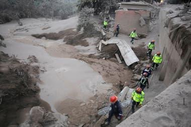 Bomberos y rescatista trabajan en la busqueda de personas