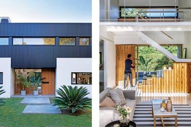 En el acceso a la casa, nada de caminito de laja. Dos grandes placas de cemento responden mejor a la arquitectura y son más prácticas en días de lluvia. Las macetas dan cierta privacidad sin cortar la transparencia entre la puerta y el jardín trasero.