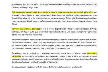 Parte del borrador que las petroleras no integradas quieren enviarle al secretario de Energía, Gustavo Lopetegui, para evitar el congelamiento total de los combustibles.