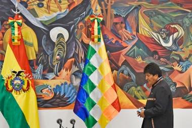 Evo Morales durante la conferencia de prensa que brindó esta mañana