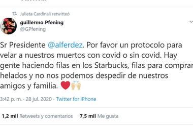 Julieta Cardinali replicó el pedido de su colega en sus redes sociales
