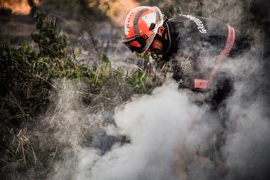 Un incendio de turba en un bosque de Suzunsky junto a la aldea de Shipunovo, en Siberia