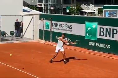 Rafael Nadal, en el entrenamiento de este sábado.