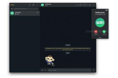 Así luce la interfaz de las llamadas entrantes en WhatsApp Web, de acuerdo a una captura realizada por el sitio WABetaInfo